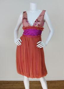 198978abca23 Merlin Castell Sz S Runway Peach Silk Chiffon Floral Burnout V-Neck ...