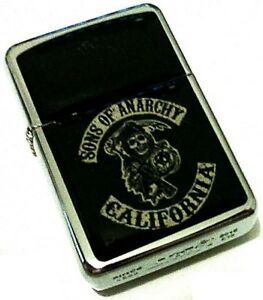 SONS-OF-ANARCHY-Logo-Black-Smoking-Cigarette-Petrol-Lighter-Metal-Merchandise
