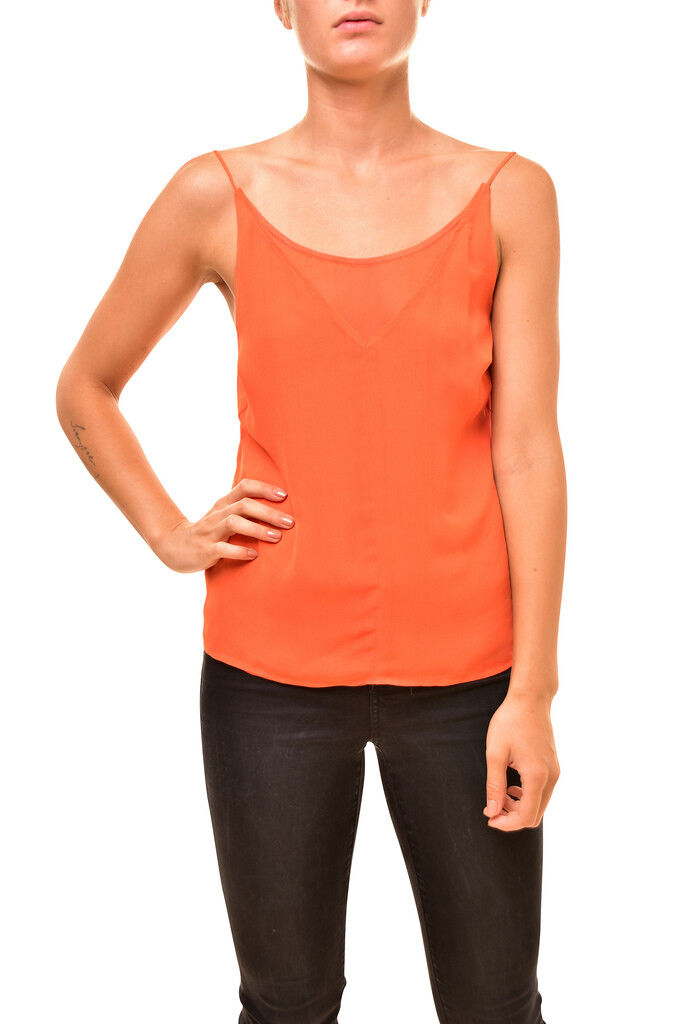 J BRAND Womens Alla Camisole JW94WO4501 Top Relaxed Sunset orange Size S