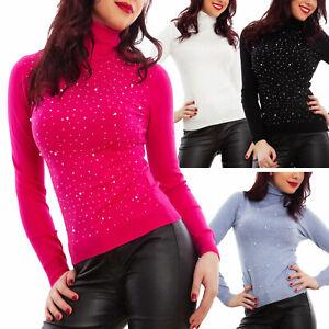 Maglione-donna-lupetto-dolcevita-collo-alto-pullover-perle-strass-TOOCOOL-Y5812