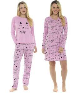 Donna Meow Gatto Design Stampato Cotone Nightwear ~ Camicia da Notte Pigiama ~ UK 8-22