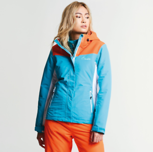 db1c4ea95b31 Image is loading Dare2b-Womens-Prosperity-AQUA-BLUE-ORANG-Ski-Jacket-