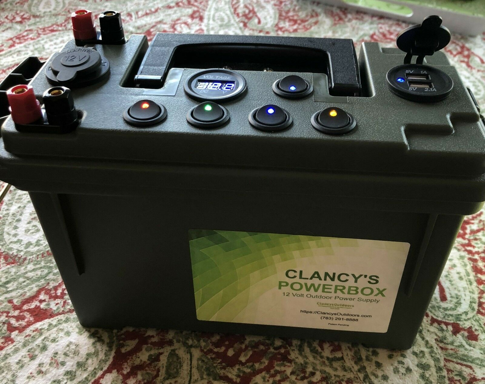 Clancy's PowerBox  12 volt power supply for ice fishing camping hunting kayaking  various sizes