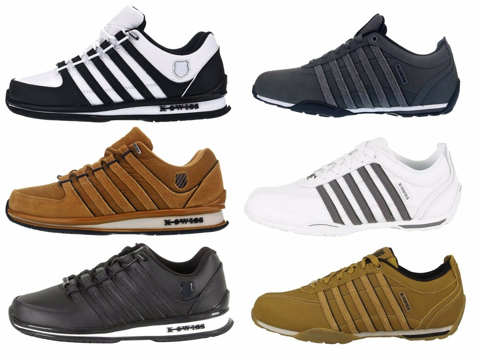 Herren NEW KSWISS ARVEE RINZLER TRAINERS TOP LACE UP LEATHER LO TOP TRAINERS SNEAKERS SIZE 6-12 6b5b27