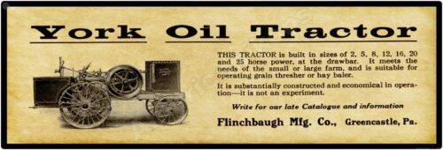 "1915 York Oil Tractor PA New Metal Sign: 6 x 18/"" Greencastle Flinchbaugh Mfg"