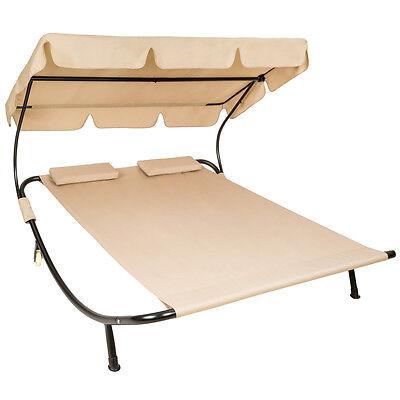 Tumbona de jardín con parasol y 2 cojines chaise longue dobles 2 plazas beige
