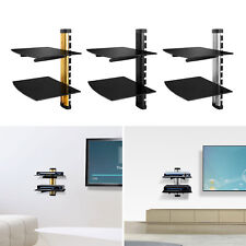 2 Tier Dual Gl Shelf Wall Mount Under Tv Cable Box Component Dvr Dvd Bracket