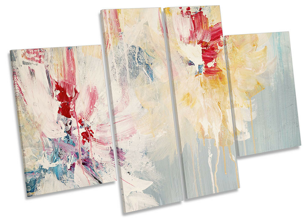 Abstract Floral Cream rot CANVAS WALL ARTWORK Four Panel Art
