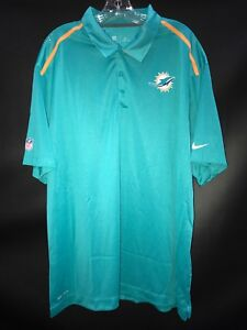 f2fe1a3cc MIAMI DOLPHINS TEAM ISSUED TEAL DRI-FIT NIKE COACHES SIDELINE POLO ...