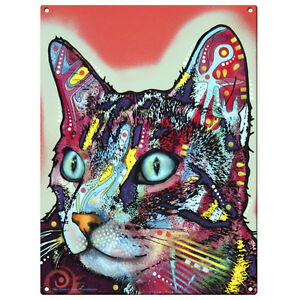 Curious Cat Dean Russo Pop Art Metal Sign Pet Steel Wall Decor 12 x 16