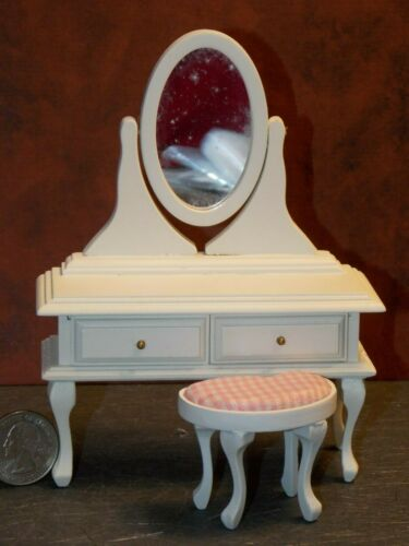 Dollhouse Miniature White Vanity /& Mirror 1:12 one inch scale M11 Dollys Gallery