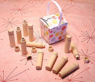 One Dozen Vintage/Newstock Wooden Needle Storage Tube Cases for sewing/crafting.