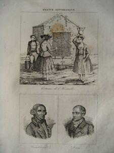 Prix Pas Cher Gravure Xixè -costumes De L'hérault-cambacéres - Daru- Hérault-1835 Bas Prix