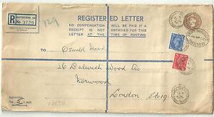51/2D BROWN KING GEORGE VI REGISTERED ENVELOPE + 1D 21/2D EASTBOURNE 1949 RP63K