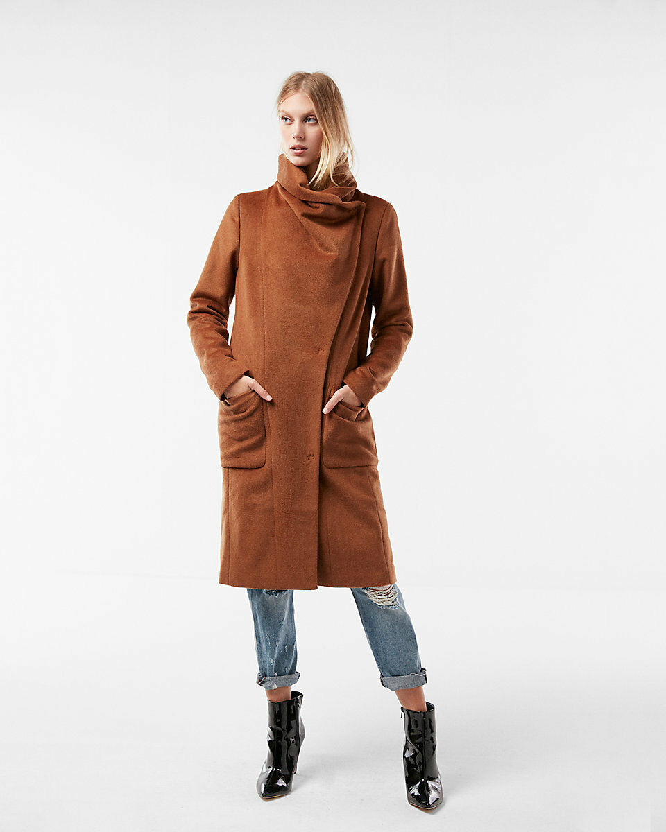 NEW EXPRESS  228 BROWN WOOL BLEND LONG COCOON COAT SZ XS EXTRA SMALL