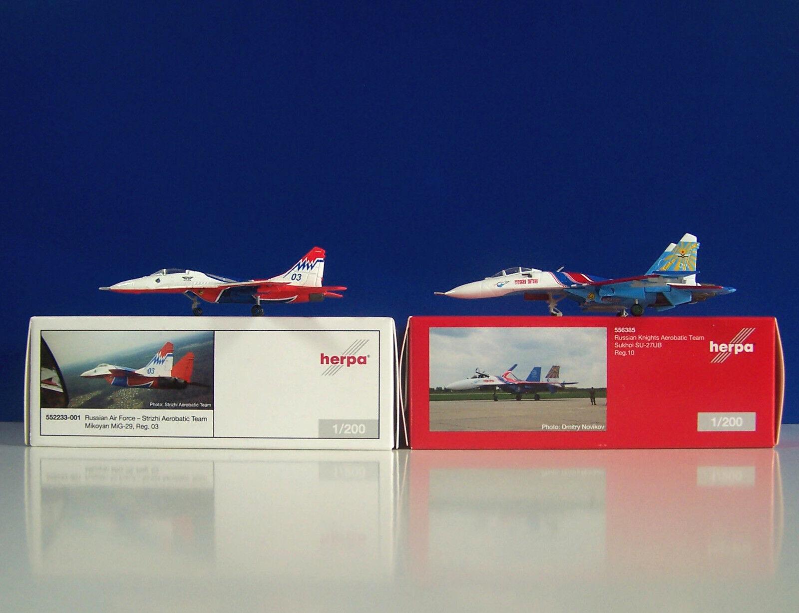 Herpa Wings 1 200 Russian Air Force Aerobatic Team Mikoyan MiG-29 + Sukhoi SU-27