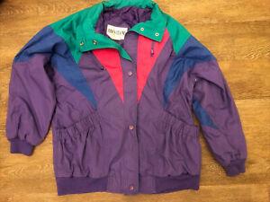 Vintage 80s 90s Izzi Ski Jacket Multi Color Block Coat Puffer Zip Size S/M