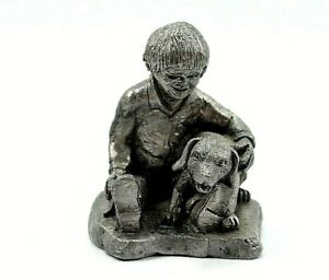 Michael Ricker Pewter Figurine Boy Holding his Dog Signed #72