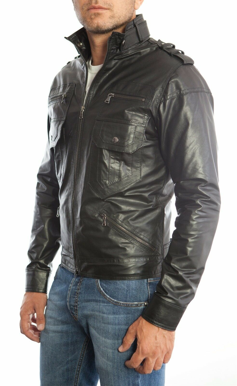 US Herren Lederjacke Hommes Herren Lederjacke chaqueta cuero n16p2