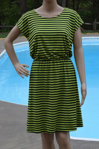 Ellen Tracy Womens Size S M L Green Navy Striped Sheath Dress Knee Length