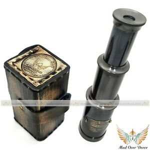 BRASS-ANTIQUE-REPRODUCTION-NAUTICAL-PIRATE-SPYGLASS-TELESCOPE-WITH-LEATHER-BOX