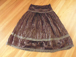 LADIES-CUTE-BROWN-SHINEY-LACEY-POLYESTER-LONG-SKIRT-BY-DOTTI-SIZE-8-CHEAP
