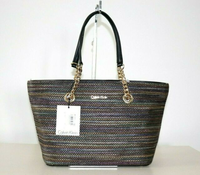6e6b3c2236 NWT Calvin Klein Florence Multi-Colored Striped Raffia Tote HandBag Purse