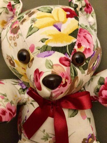 Fleurs Bordeaux Queue Floral Vintage Milaca Peluche Mills Teddy 1989 Ours Tissu H8qSw8