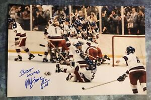 GFA 1980 Miracle on Ice Captain MIKE ERUZIONE Signed 12x18 Photo M5 COA