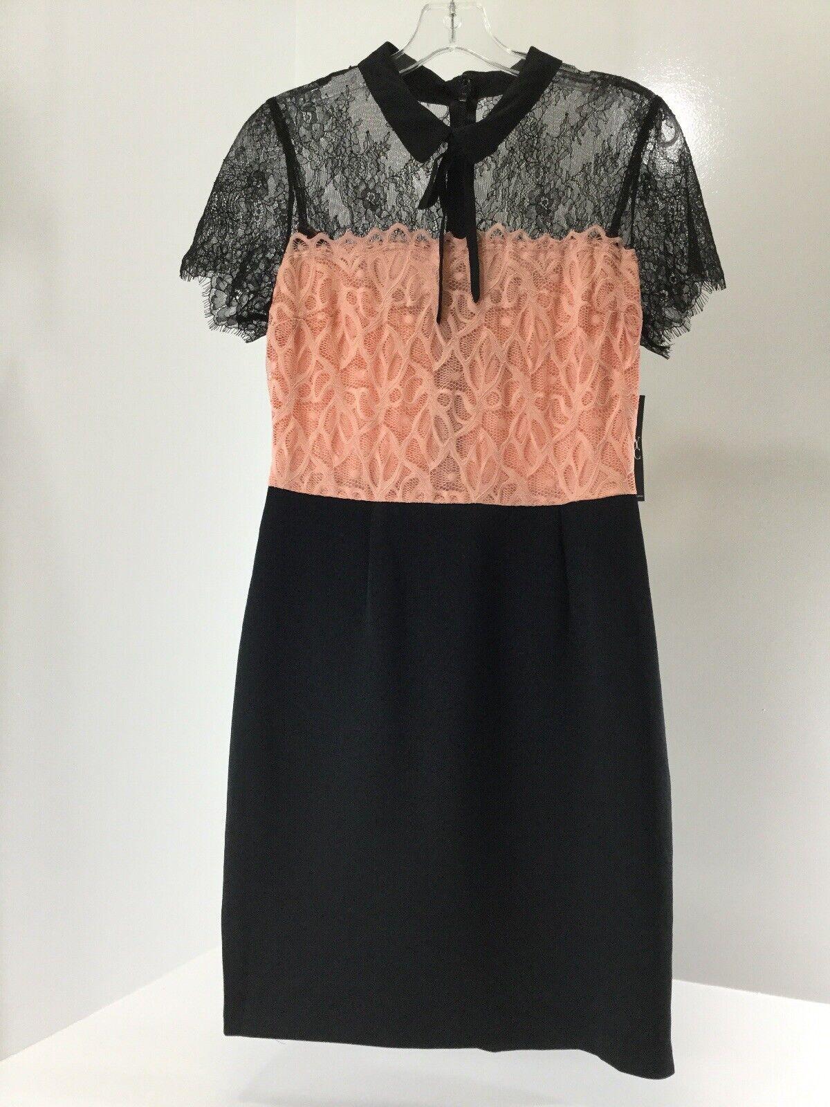 NY & C damen Short Sleeve Eyelash Lace Dress schwarz Salmon Rosa Sz Medium NWT @