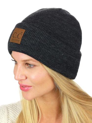 New C.C Unisex Plain Cuff Skull Cap Winter Knit CC Beanie Hat with LOGO!