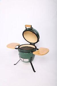 Kamado Ceramic Egg Style BBQ - Miniature (12'') - Portable Grill - W/ Side Table