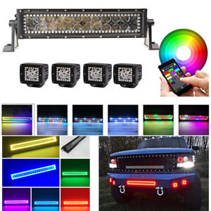 """Bluetooth 13.5/"""" Offroad Led Work light bar 4x 3/"""" Pods w// RGB Halo Ring Chasing"""