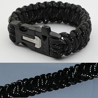 9'' Survival Paracord Bracelet Flint Fire Starter Scraper Whistle Black Reflect