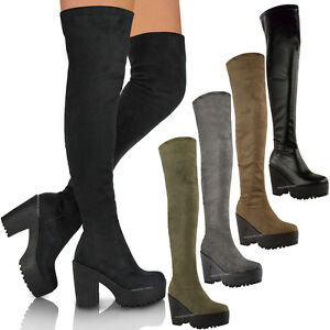 241dda40bdd4 WOMENS LADIES SEXY OVER THE KNEE THIGH HIGH CHUNKY PLATFORM HEEL ...