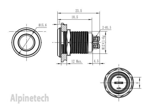 PL12B ATI 12mm Blue 12V LED Metal Indicator Pilot Dash Light Lamp Screw Terminal