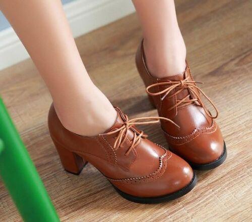 Womens Oxfords High Block Heels Shoes Wingtip Lace Up Pumps Brogues Retro Boots