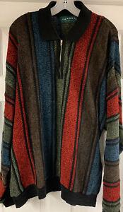 Vintage-Tundra-Canada-Strick-Pullover-Multicolor-Viertel-Reissverschluss-Pullover-XL-COOGI-Style
