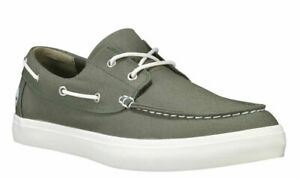 Timberland-Men-039-s-Union-Wharf-2-Eye-Boat-Shoe-Sneaker-A1Q8H-GREEN-Canvas-Moccasin