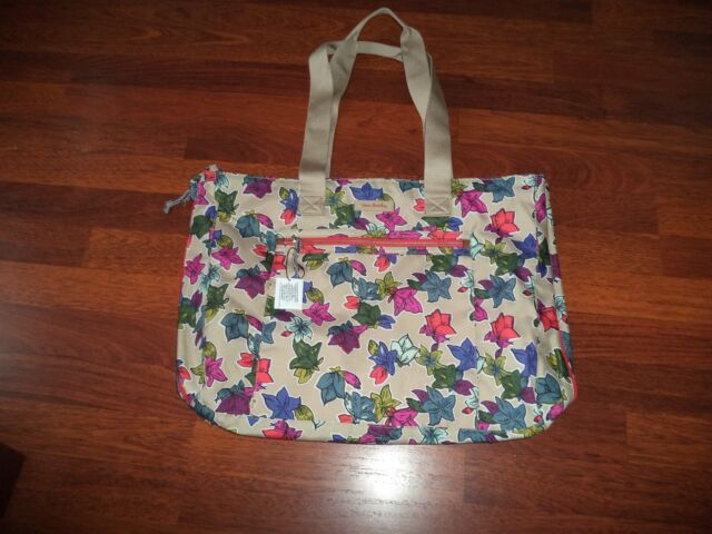Vera Bradley Lighten Up Expandable Tote Travel Bag Falling Flowers Weekender 54e7d0627887f