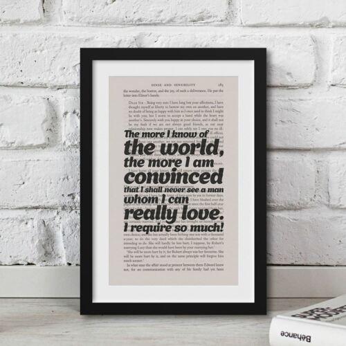 Jane Austen Feminist Literature Art Print Quote Vintage Book Page Print