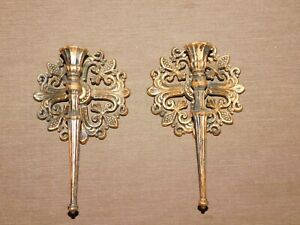"""VINTAGE 9 3/4"""" HIGH 1964 DART IND WALL CANDLE HOLDERS SET OF 2"""