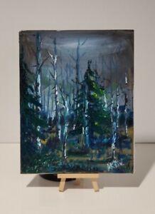 Aspen Forest Colorado US Birch tree Original Mountain Landscape Painting Signed