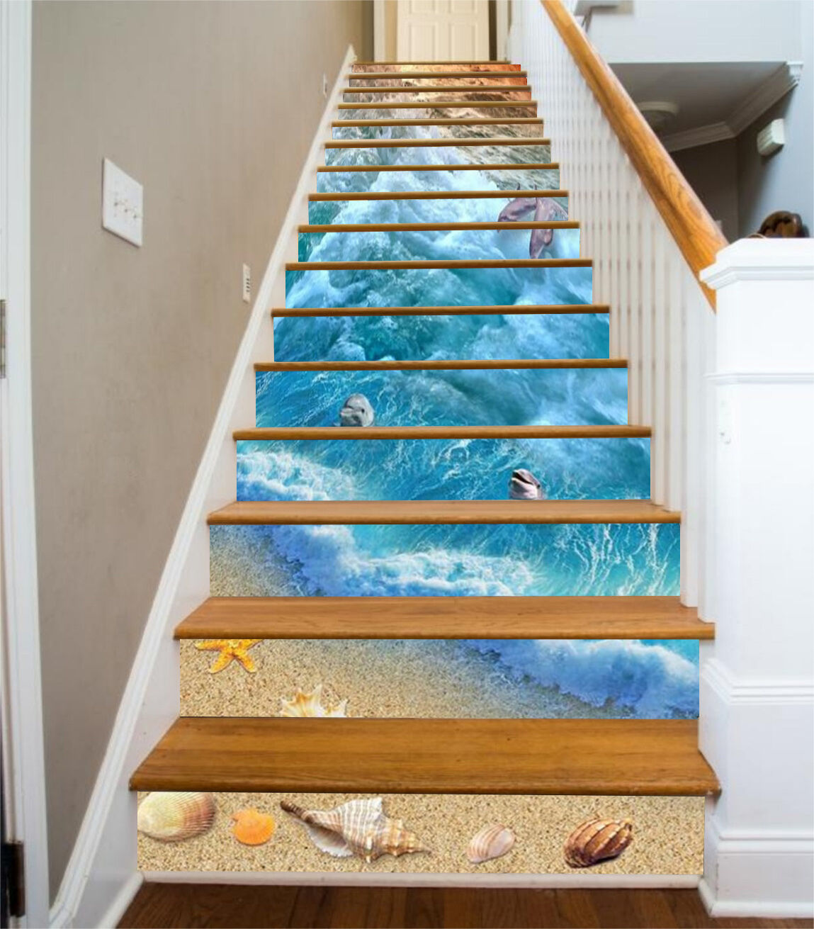3D Beach Dolphin 61 Stair Risers Decoration Photo Mural Vinyl Decal Wallpaper UK