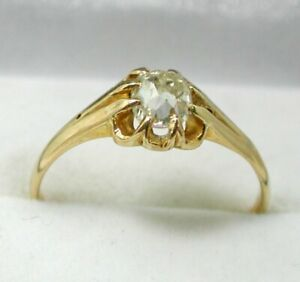 Superb Edwardian Gents 18 carat Gold  Cushion Cut good sized Diamond Solitaire