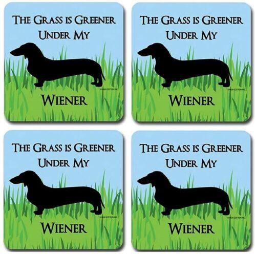 "Novelty /""The Grass is Greener Under My Wiener/"" Drink Coasters Set of 4"