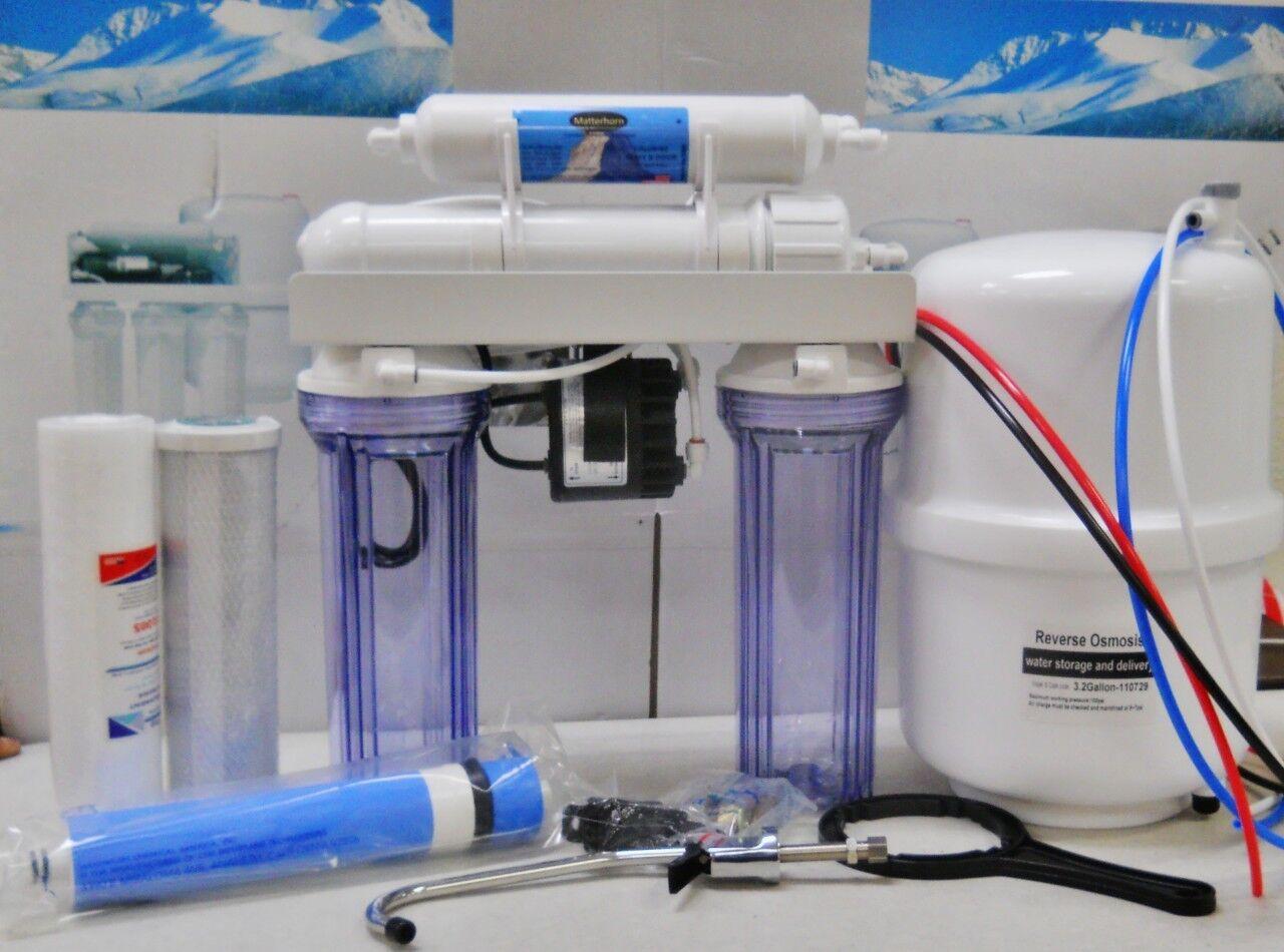 Osmose Inverse Eau Potable Système de Filtre pompe permeate double Di boire & UV