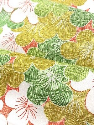 """JAPANESE KIMONO FABRIC 40/""""/_Silk,Moss green,Tsumugi,Kasuri,#e740-s"""