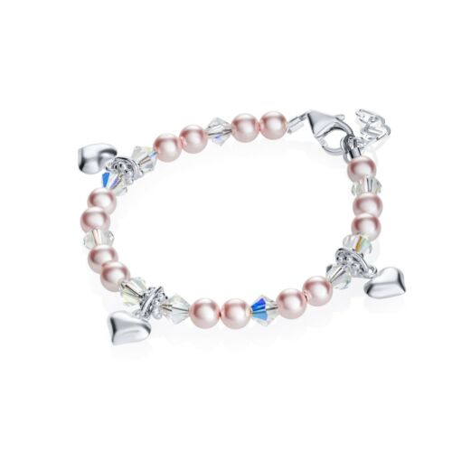 Baby Bracelet with Swarovski Pink Pearls and Clear Crystals with Sterling Silver