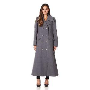 De La Creme - Womens Grey Long Military Wool Cashmere Winter Coat  06d82a659b52